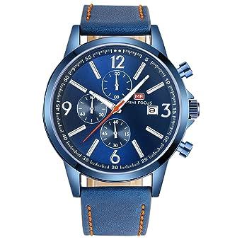 529ec44e86 MINI FOCUS カジュアル 腕時計 メンズ 革 ベルト シンプル クオーツ ストップウォッチ (ブルー)