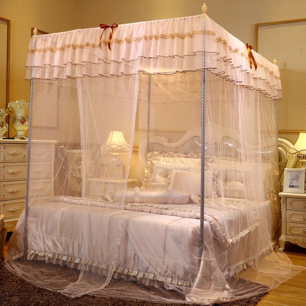 LSS Doppelbett Moskitonetz 2M Bett Zu Hause 1,8 + 2,2 M Dreitürige Halterung 1,5 M Prinzessin Wind Zwei Meter Bett,1.52M
