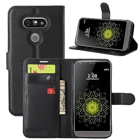 HualuBro Funda LG G5, Carcasa de Protectora Cuero PU Billetera Cartera Plegable Funda [Ranuras de Tarjeta] Flip Leahter Wallet Case Cover para LG G5 / ...