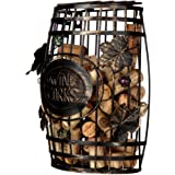 Home-X Wall Mounted, Barrel Shape Metal Wine Cork Holder, Best Designed Gift For Wine Lovers