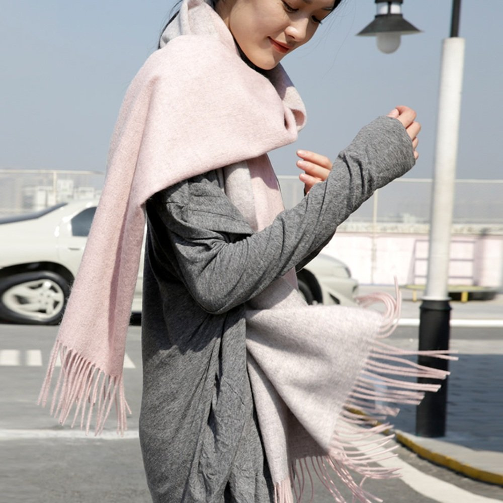 Chal con bufandas bufanda espesa bufanda femenina de doble cara chal bufanda grande de doble color de primavera y otoño Doble uso caliente cuello caliente 2 colores disponibles 200 * 70cm Bufanda Seda Ligera ( Color : A )