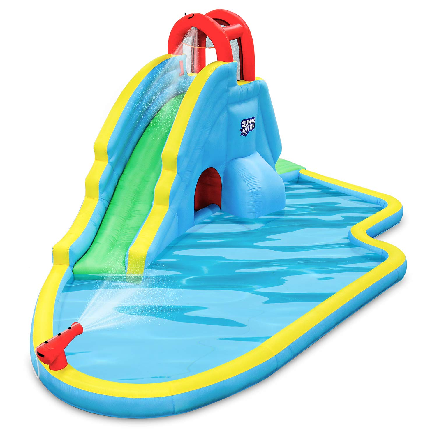 Deluxe Inflatable Water Slide Park - Heavy-Duty Nylon for Outdoor Fun - Climbing Wall, Slide, & Splash Pool - Easy to Set Up & Inflate with Included Air Pump & Carrying Case by Sunny & Fun