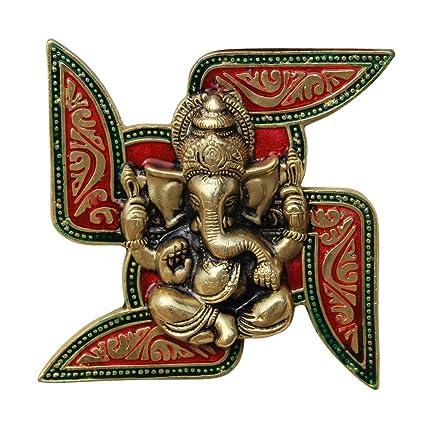 Handicrafts Paradise Ganesha Placed on Swastik Aluminium Metal Wall Hanging (18.5 cm x 3.8 cm x 18.5 cm),multicolor