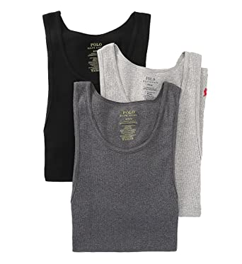 161c7ad039e30 Polo Ralph Lauren Classic Ribbed Tanks 3-Pack - Multi -  Amazon.co.uk   Clothing