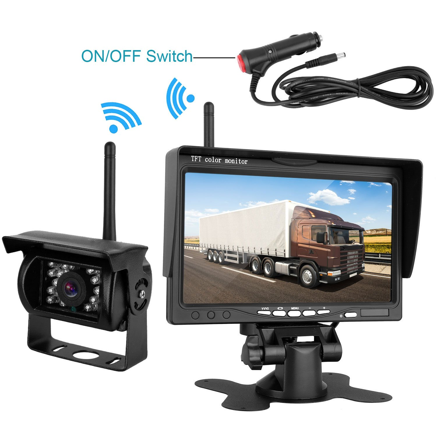 Emmako Backup Camera Wireless and 7'' Monitor Kit For Truck/Trailers/RV/5th Wheel//Campers/Motorhome Waterproof Night Vision Built-in Wireless Rear View Camera Parking System