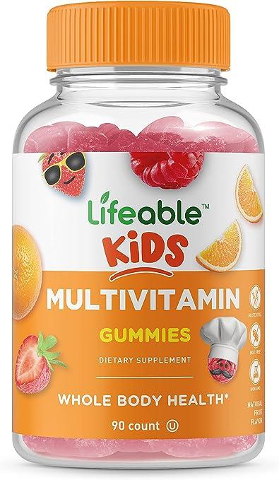 Lifeable Kids Multivitamin – Great Tasting Natural Flavor Gummy – Vegetarian, GMO Free Vitamin Supplement – with Vitamins A, C, D, E, B6, B12, Zinc, Biotin, Folic Acid, Iodine, Niacin – 90 Gummies