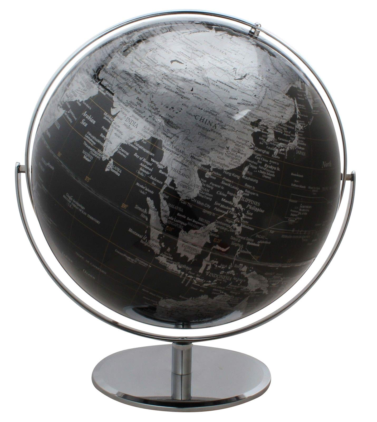 Columbus Black World Globe - Extra Large 17'' Diameter, Raised Relief, Impressive Two-Tone Finish by J. Thomas
