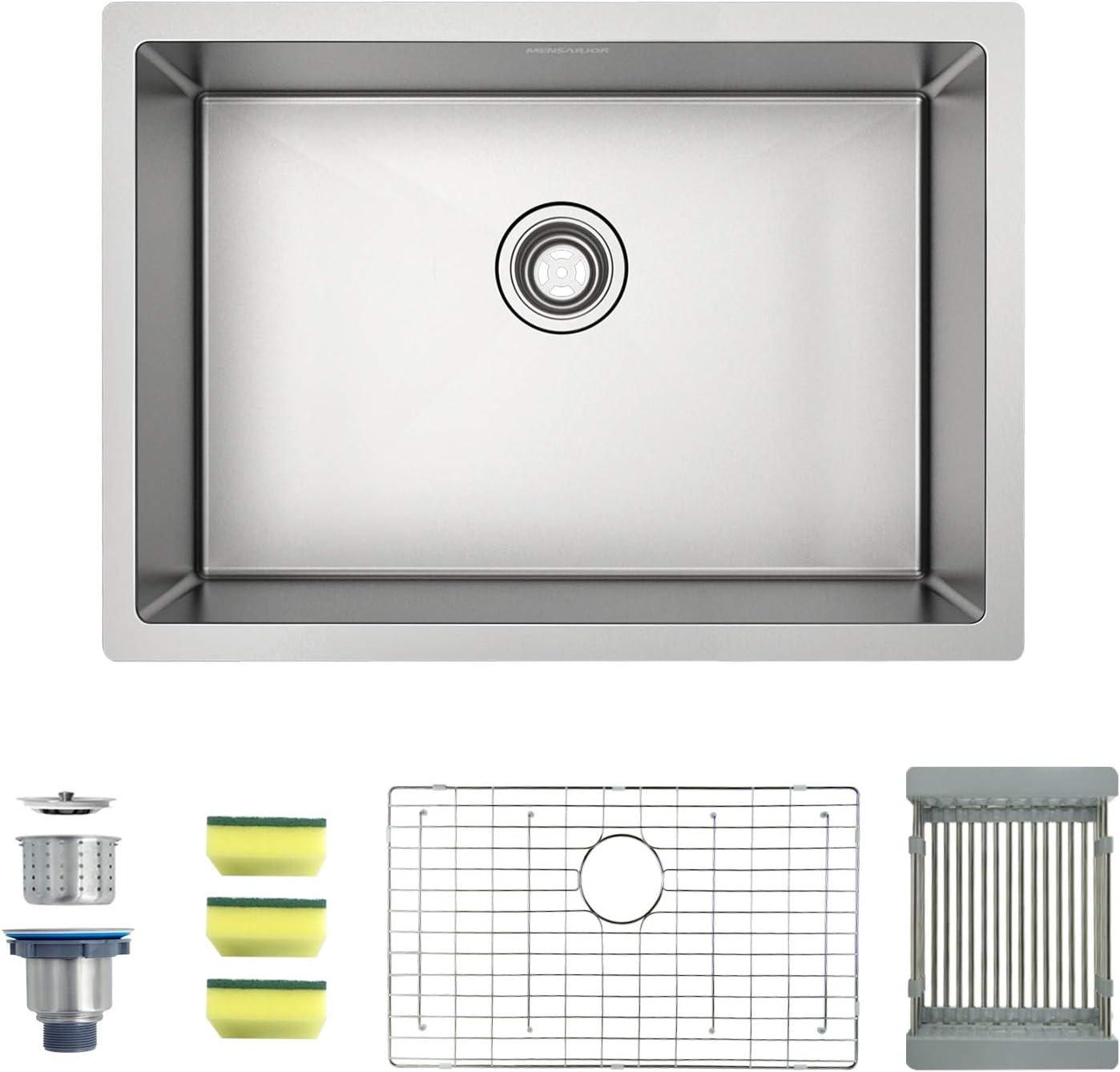 """MENSEAJOR 27"""" x 18"""" Single Bowl Kitchen Sink Undermount Stainless Steel Kitchen Sink, Bar or Prep Kitchen sink"""