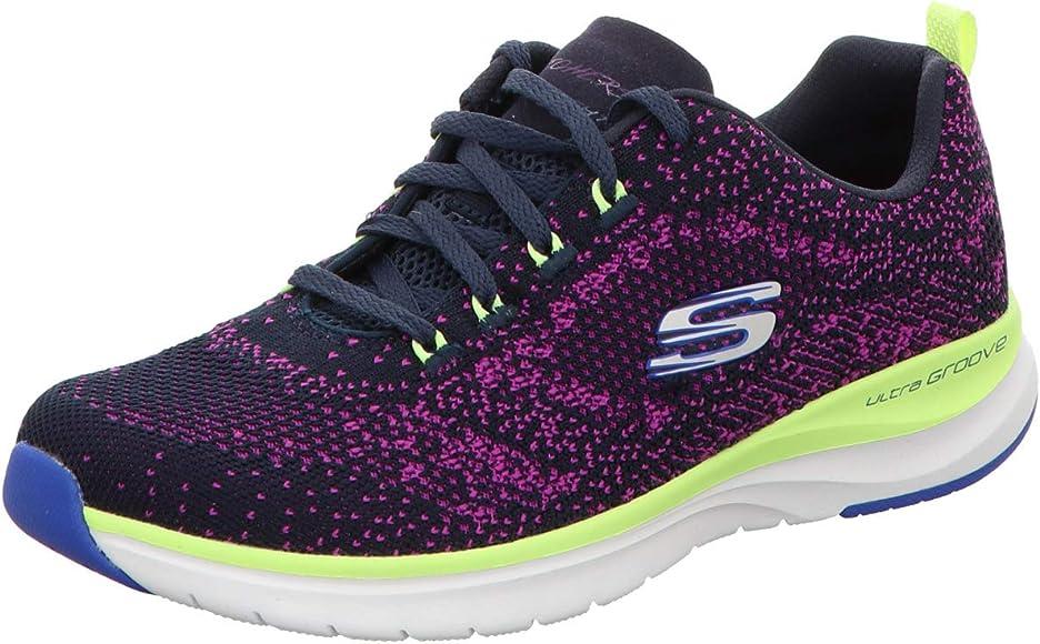 Skechers Ultra Groove, Zapatillas para Mujer, Navy & Purple Knit Mesh/Lime & Pink Trim, 35 EU: Amazon.es: Zapatos y complementos