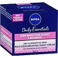 NIVEA Daily Essentials 24 Hour Moisture Boost + Nourishing, Rich Regenerating, Moisturising Night Cream with Shea Butter & Anti-Oxidants for Dry & Sensitive Skin 50ml