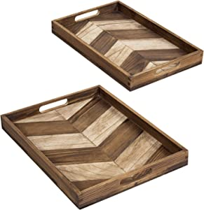 MyGift Chevron Arrow Design Burnt Brown Wood Nesting Breakfast Snack Serving Tray for Bed, Sofa and Laptop Use with Cutout Handles, Set of 2