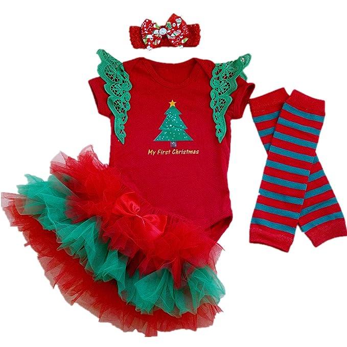 Amazon.com: aishiony Baby Girl 1st Christmas – Tutu Outfit ...