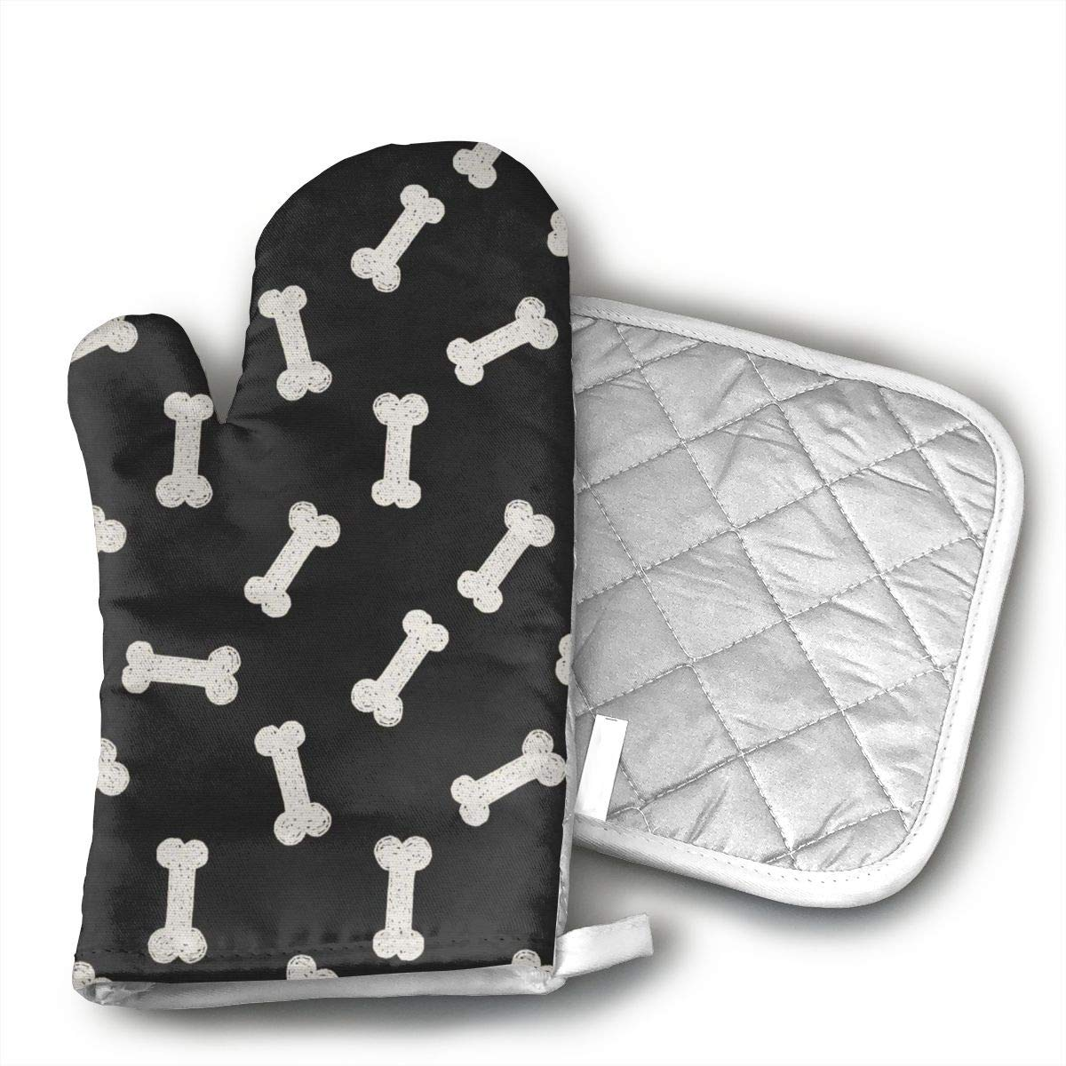EROJfj Doodle Dog Bone Canine Animal Theme Oven Mitts and Potholders BBQ Gloves-Oven Mitts and Pot Holders Non-Slip Cooking Gloves for Cooking Baking Grilling