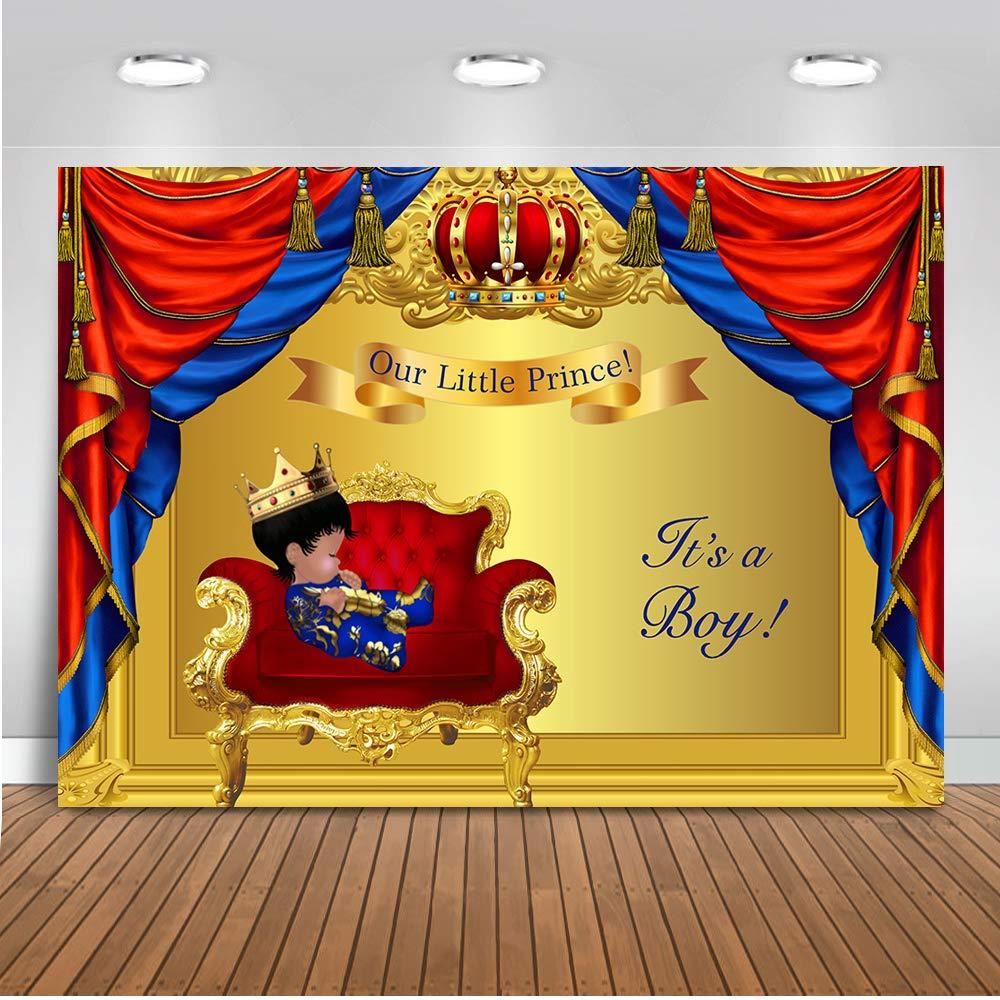 Mocsicka リトルプリンス 写真背景 7x5フィート ビニール ベビーシャワー 赤と青 カーテン 写真背景 金色の背景 ロイヤルプリンス 写真背景   B07L2X2BQR