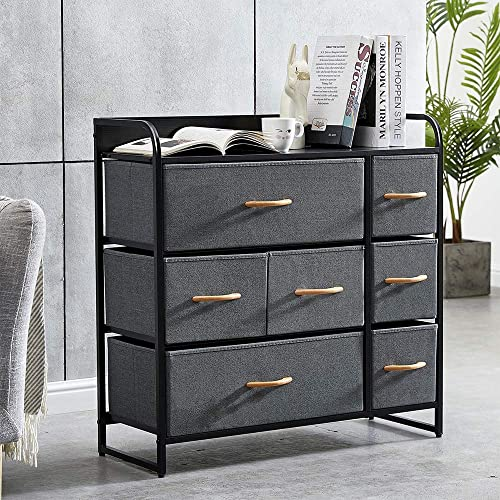 HomeSailing Grey Bedroom Chest of 7 Drawers Fabric Dresser Closet Living Room Unit Storage Sideboard Cabinet for Kids Room Clothes Toy Collection Nursery Long TV Stand Cabinet