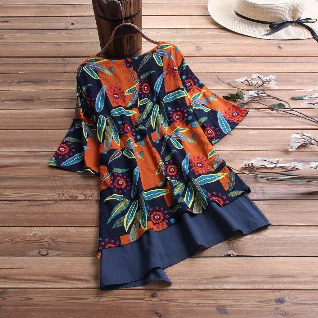 Women Casual Loose O-Neck Short Sleeve Print Patchwork T-Shirt Tops Camis Tunics Blouse Navy
