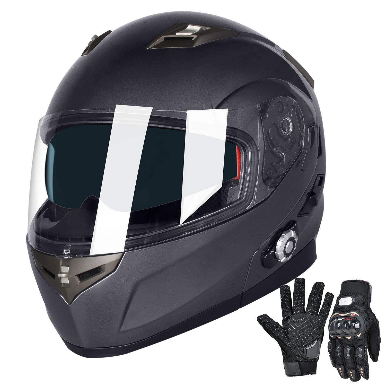 FreedConn Bluetooth Motorcycle Helmets Speakers Integrated Modular Flip up Dual Visors Full Face Built-in Bluetooth Mp3 Intercom headset Communication Range 501M (L,Gray)