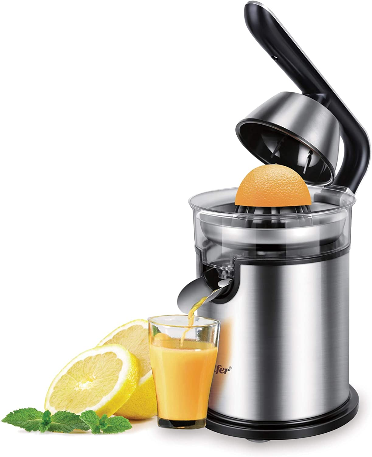 NNDQ Stainless Steel 300 Watts Electric Orange Juicer Squeezer Easy Use Hands-Free Electric Citrus Juicer Ultra Quiet Motor and Anti-Drip Spout