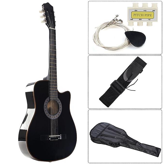 Madera de color negro guitarra acústica con funda para guitarra ...