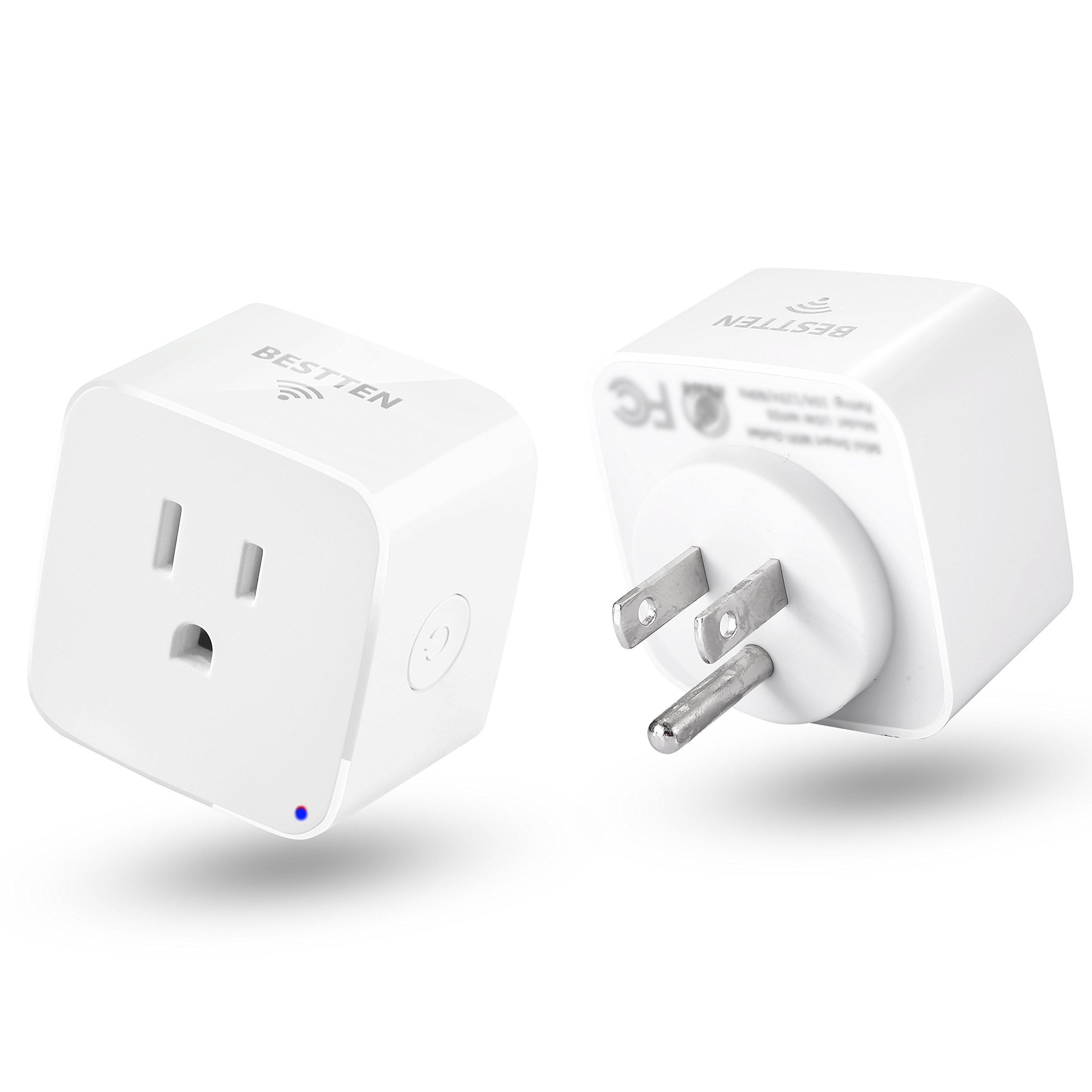 [2 Pack] BESTTEN Smart Plug, Mini Wi-Fi Outlet, Works with Amazon Alexa Echo and Google Home, Easy & Quick Set Up, White, No Hub Required, 10A/1250W, FCC Certified, White