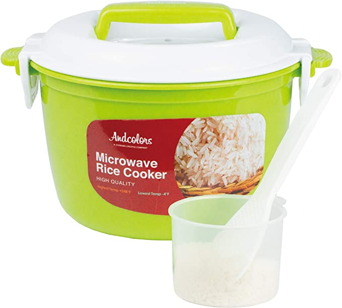Andcolors Microwave Rice Cooker Steamer - Complete Set - Makes 2 to 4 servings - FDA Approved, BPA Free, Food Grade Plastic - Dishwasher Safe - ...