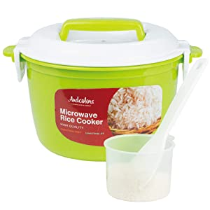 Andcolors Microwave Rice Cooker Steamer - Complete Set - Makes 2 to 4 servings - FDA Approved, BPA Free, Food Grade Plastic