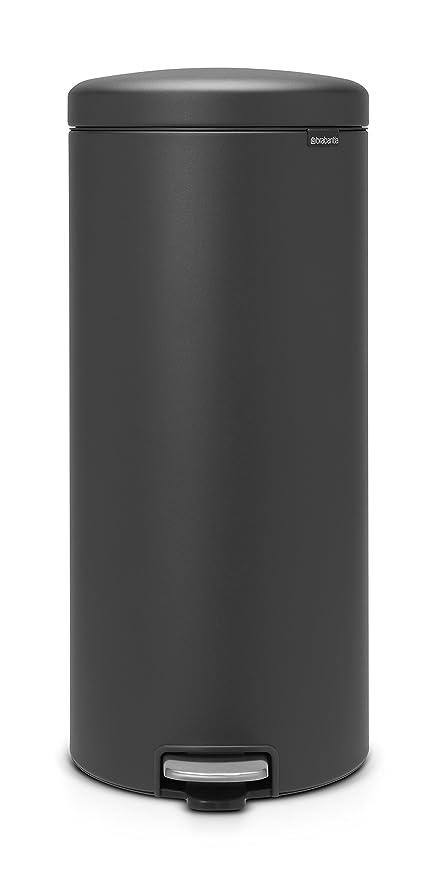 Brabantia NewIcon Cubo de basura de pedal de 30 litros, Acero Inoxidable, Mineral Infinite Grey
