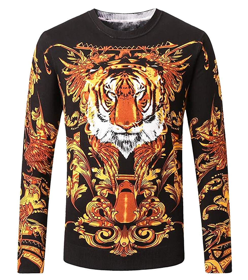 Jofemuho Men Knit Crewneck Regular Fit Chinese Style Long Sleeve Pullover Sweater