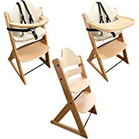 Wooden Baby High Chair | 3in1 Highchair with Tray and Bar (Beech)