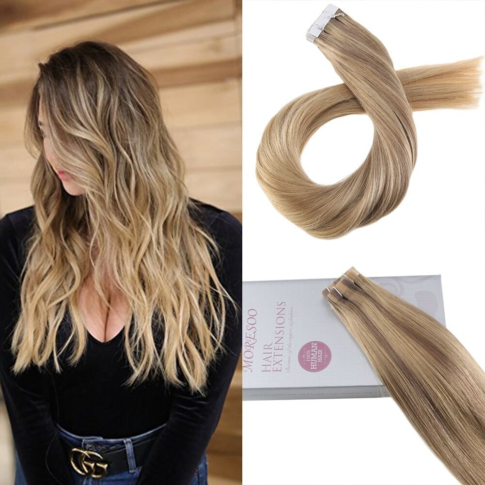 Amazon Moresoo 14inch Seamless Skin Weft Hair Extensions Ombre