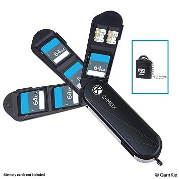 Caja de Almacenamiento de Tarjeta de Memoria con Lector Micro SD (USB) - Diseño de Tipo Navaja Suiza con 3 Hojas - Se Adapta a 4 Tarjetas SD ...