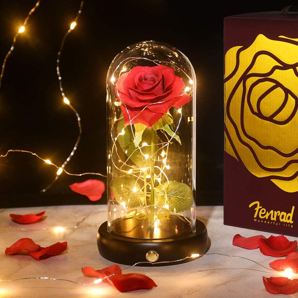 Rosas Encantada Bella y la Bestia Eterna Flor, Rosa de Seda Luz 20 LED Elegante Cúpula de Cristal con Base Pino, Regalo para día de Navidad San Valentín Madre Boda Aniversario Cumpleaños