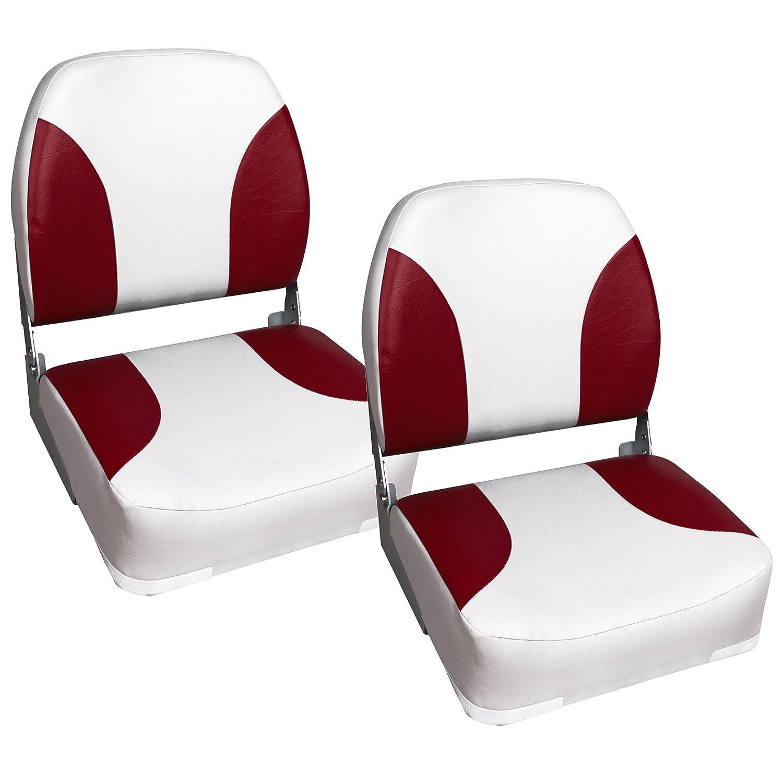 [pro.tec] 2X Bootssitz/Kapitänsstuhl aus wasserfestem Kunstleder/gepolstert / UV- beständig/klappbar (rot-weiß) [pro.tec]®