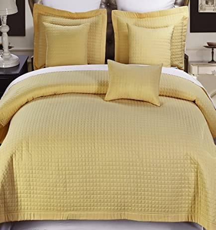 Modern Solid Pattern Style Quilt Coverlet And Sham Set All Season  Hypo Allergic Lightweight Reversible