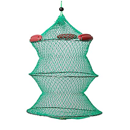 Collapsible Green Knot Boat Fishing Live Bait Keep Net S6A8