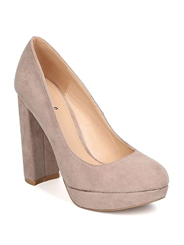 ad82a7b4e25 Qupid Women Faux Suede Round Toe Platform Chunky Heel Pump GB93 - Taupe  (Size