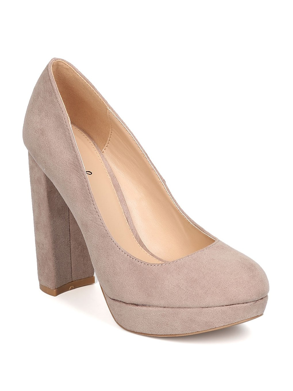 Qupid Women Faux Suede Round Toe Platform Chunky Heel Pump GB93 - Taupe (Size: 9.0)
