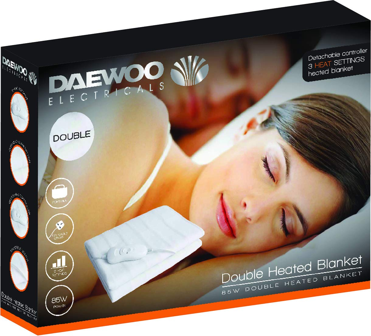Machine Washable and Over-Heat Protection Detachable Controller Daewoo HEA1180 120W King-Size Heated Blanket with 3 Heat Settings White