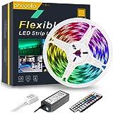 PHOPOLLO LED Strip Lights, 16.4ft RGB Color Changing 5050 150LEDs Waterproof Flexible LED Tape Light Kit with 44 Key IR…