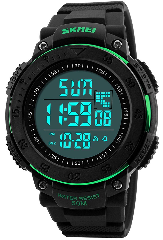 メンズデジタル防水LEDスポーツ腕時計RunningカジュアルMilitary電子12h / 24h時刻バックライト164 ft 50 m防水二重時間 50mm グリーン B074R7NMW1 グリーン グリーン