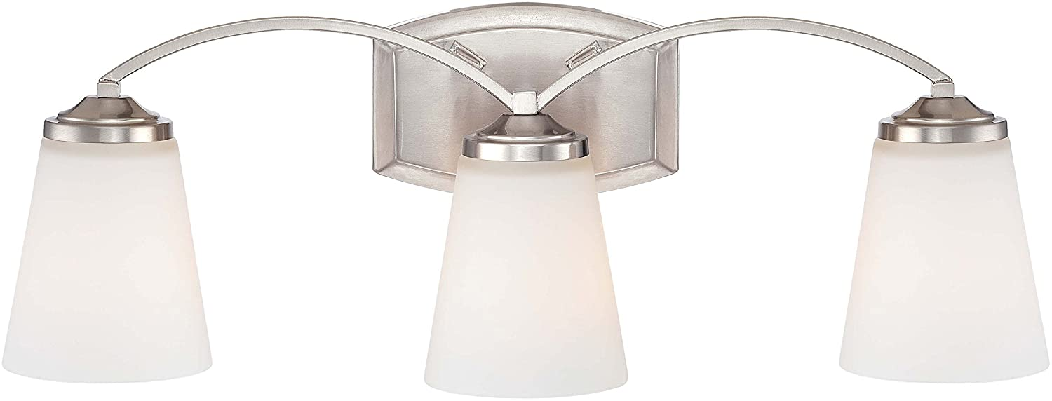 Minka Lavery Wall Light Fixtures 6963-84 Overland Park Glass Bath Vanity Lighting, 3 Light, Nickel