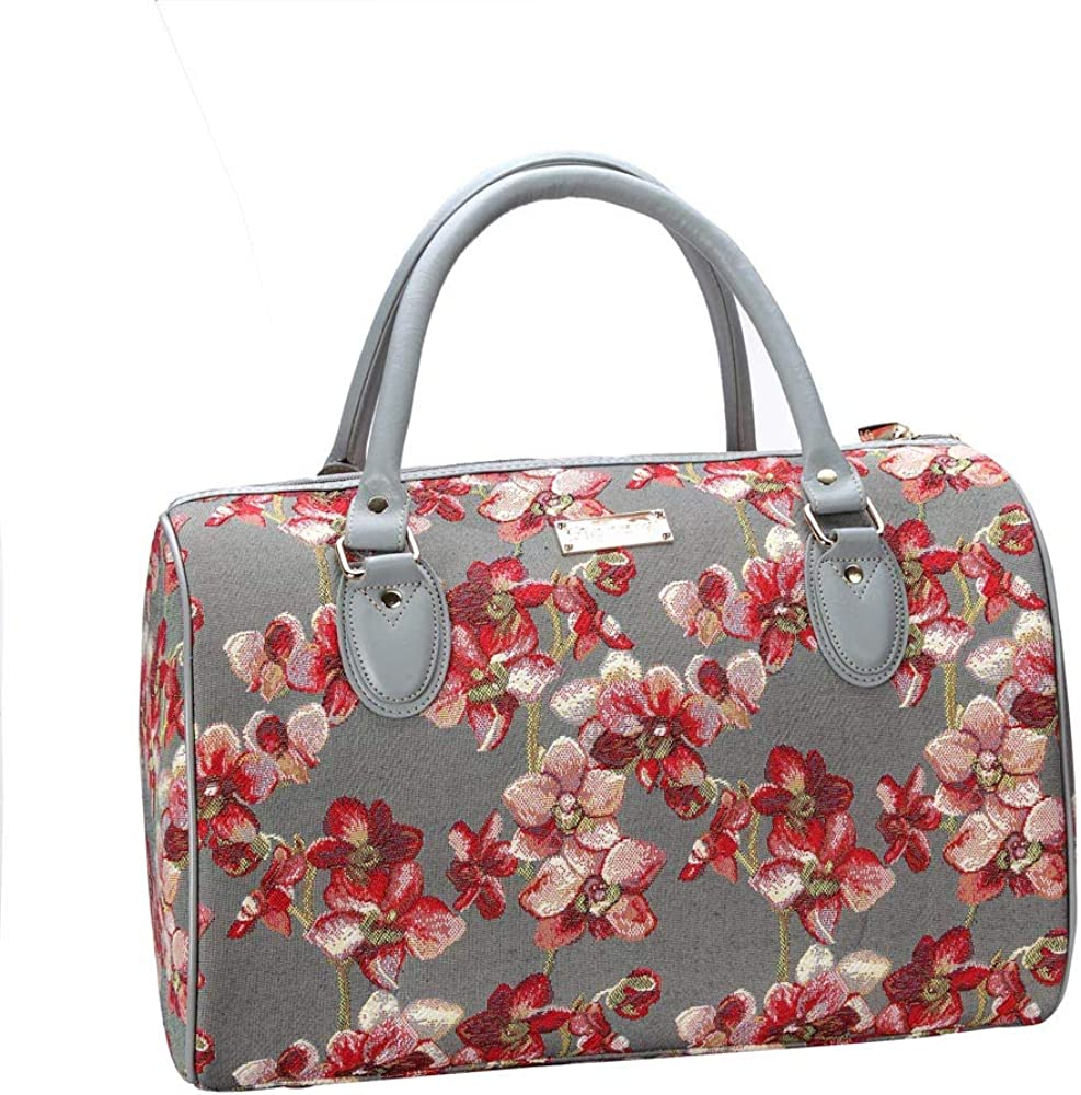Orchid Grey and Red Travel Bag by Signare//Floral Top-Handle Lightweight Carry-On Handbag//TRAV-ORC