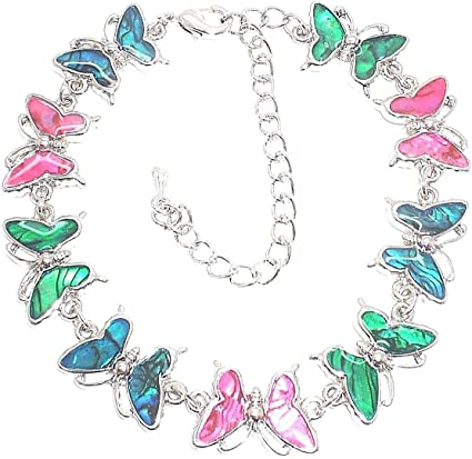 Multi-Colored Genuine Paua Shell Heart Anklet w//Crystals