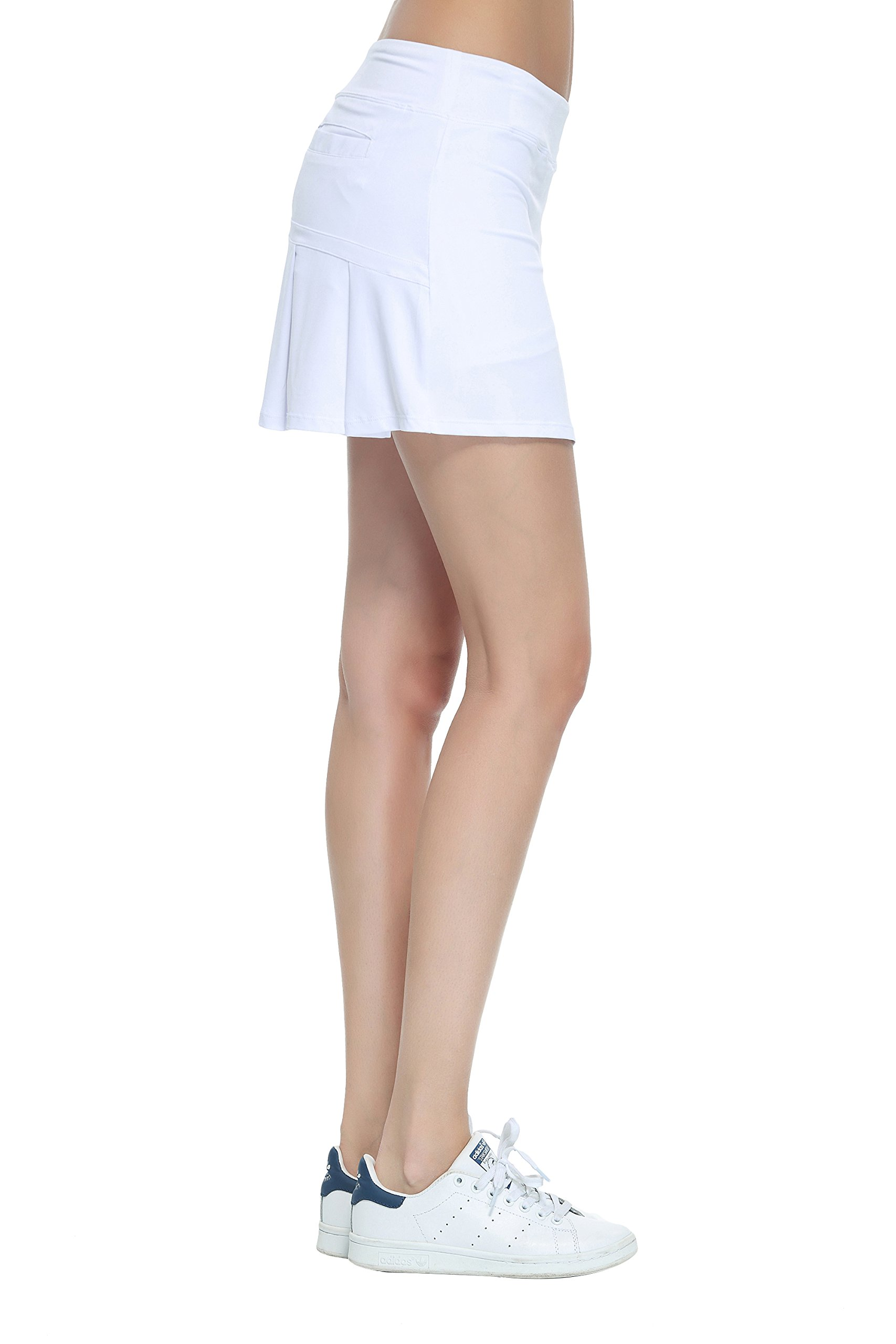 HonourTraining Women's Workout Active Skorts Sports Tennis Golf Skirt With Built-In Shorts size m (White)