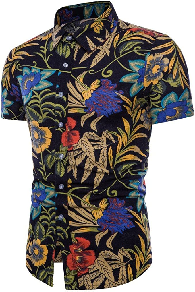 Rrive Mens Floral Printed Stand Collar Summer Beach Short Sleeve Shirts
