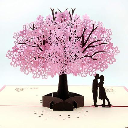 Tarjeta de flores de cerezo hecha a mano en 3D, tarjeta de ...
