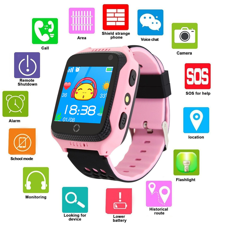 GPS Tracker Smart Watch, Mictchz Kids GPS Tracker Smart Watch with Camera SIM Calls SOS Anti-lost GPS + LBS Smart Watch for Children Boys Girls for ...