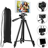"""Tripod for phone with Phone&Tablet Mount, PEMOTech 50"""" Lightweight Aluminum Camera Tripod + [2 In 1] Tablet & Smartphone Holder Mount + Water-resistant Carring Bag for iPhone X 8/8 Plus 7/7 Plus SE, Samsung Galaxy S8/S8 Plus S7/S7 Edge S6 Edge/S6 S5, Apple iPad Pro 9.7"""" iPad Air 1/2 iPad Mini 1/2/3/4, Sumsung Galaxy Tablet and More Phones & Tablets & Cameras"""
