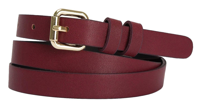 Womens Goldtone Roller Buckle Faux Leather Skinny Belt