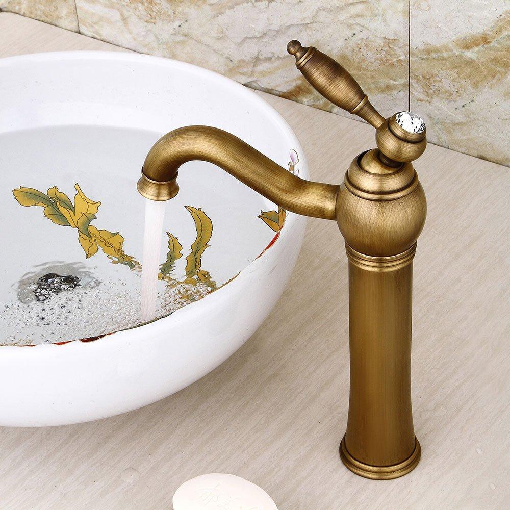 MMYNL TAPS MMYNL Waschtischarmatur Bad Mischbatterie Badarmatur Waschbecken Antike drehen Retro heiße und kalte einzelne Bohrung Badezimmer Waschtischmischer